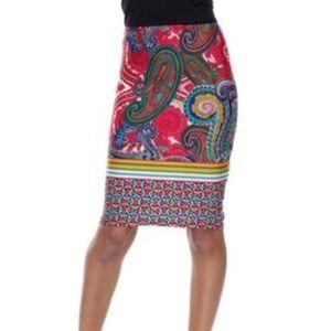 NWT White Mark Paisley Printed Midi Pencil Skirt